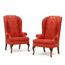 Pair of Upholstered Wing Back Chairs   SOLD