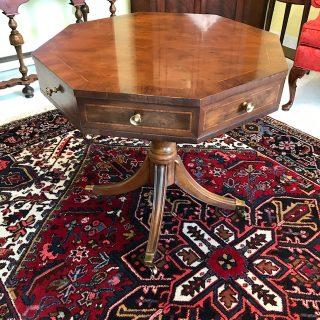 Mahogany Regency-Style Octagonal Drum Table   SOLD