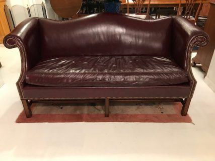 Chippendale-Style Leather Sofa  SOLD
