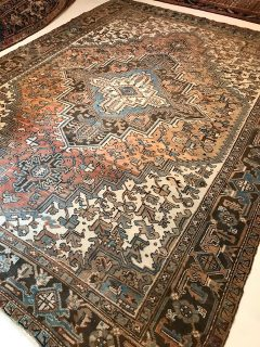 Antique Persian Heriz 8.1 x 11.1