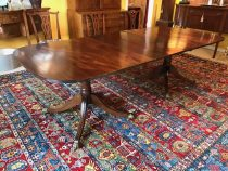 Antique Regency Double Pedestal Mahogany Dining Table