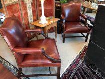 Pair of 19th c Irish Leather Armchairs