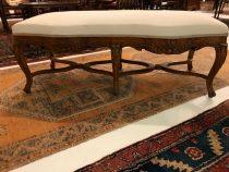 French Walnut Upholstered Bench